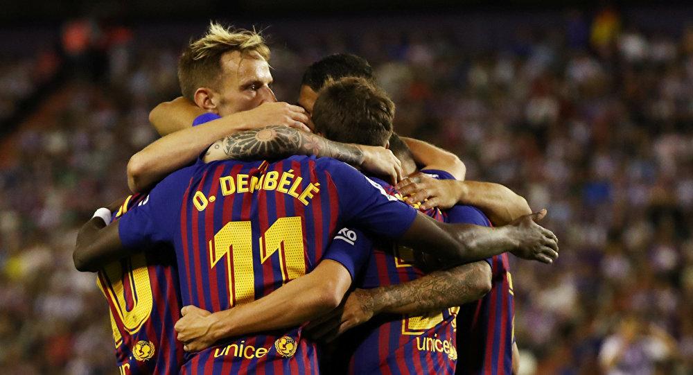 احتفال لاعبي برشلونة