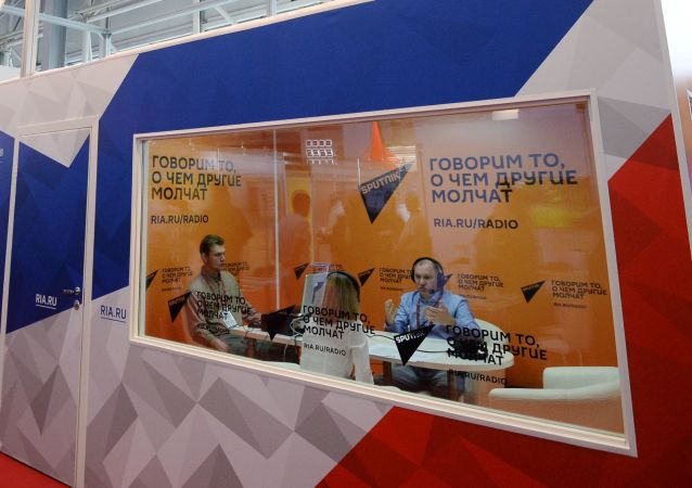 جناج وكالة روسيا سيغودنيا وسبوتنيك للأنباء والإذاعة الدولية في المنتدى التقني العسكري الدولي أرميا - 2018 (الجيش - 2018 في كوبينكا