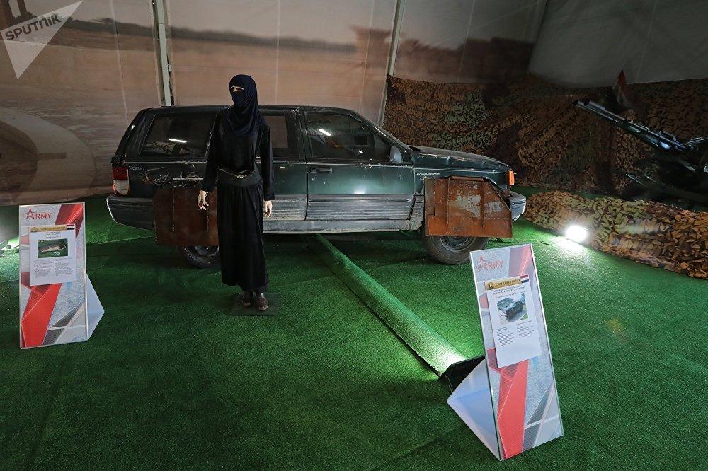 سيارة إرهابي انتحاري في معرض الأسلحة التي تم حجزها من المسلحين في سوريا، كجزء من المنتدى الفني العسكري الدولي الرابع أرمي 2018 (الجيش 2018) في كوبينكا
