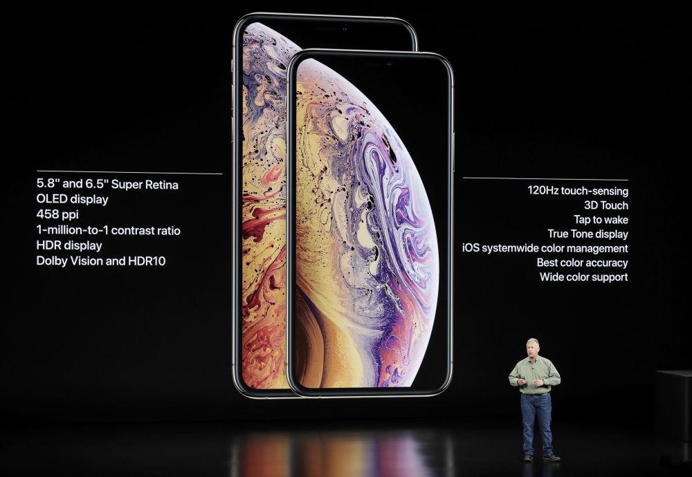 فيليب شيلر ، نائب الرئيس الأول لأبل في قسم التسويق العالمي ، يتحدث عن هواتف iPhone XS و Apple iPhone XS Max ، خلال الإعلان عن منتجات Apple الجديدة في كوبرتينو ، كاليفورنيا.