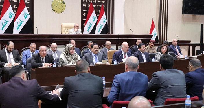 رئيس الوزراء العراقي حيدر العبادي خلال جلسة البرلمان العراقي في بغداد، العراق 8 سبتمبر/ أيلول 2018