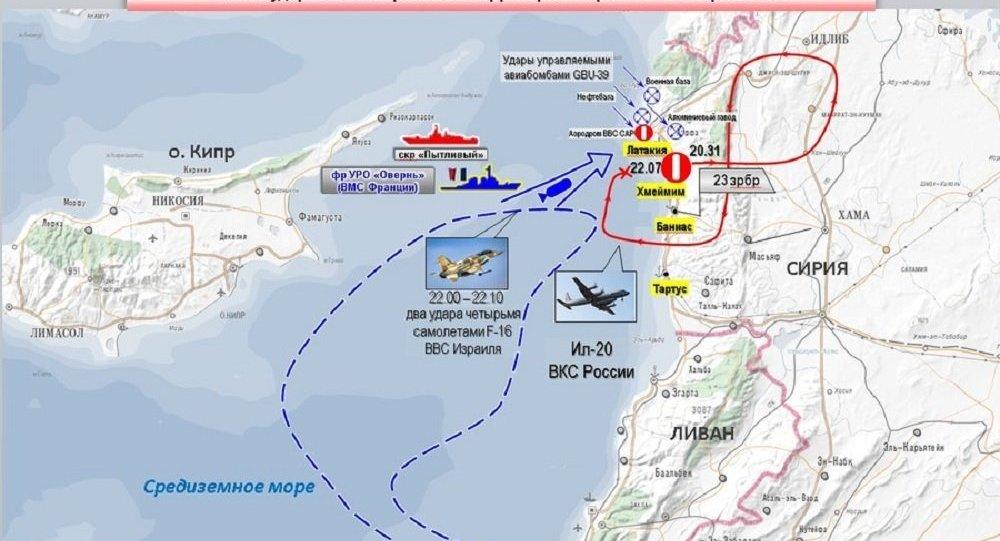 خريطة توضيحية لاسقاط الطائرة الروسية إيل - 20 في سوريا في 17 سبتمبر/ أيلول 2018