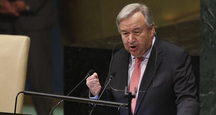 الأمين العام للأمم المتحدة أنطونيو غوتيريش، نيويورك 25 سبتمبر/ أيلول 2018