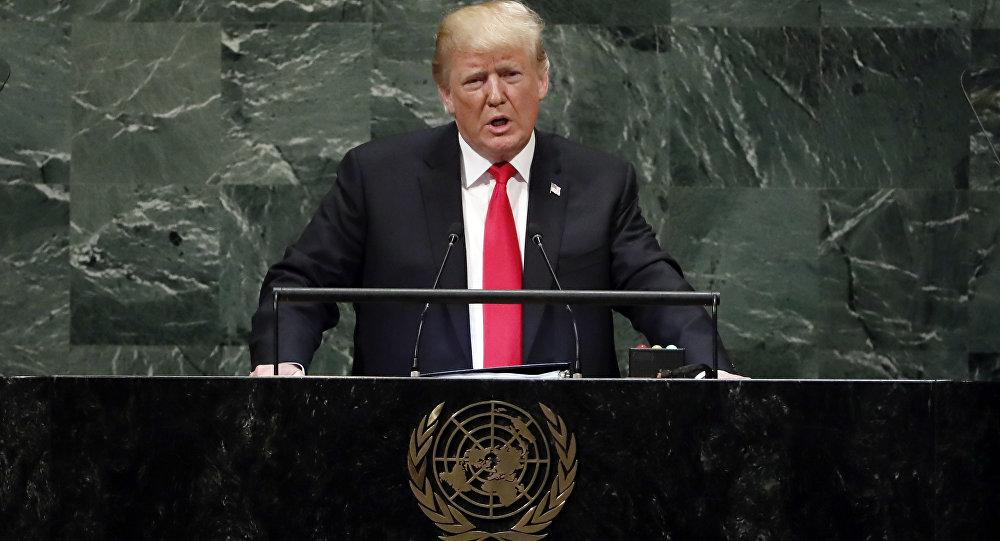 الرئيس الأمريكي دونالد ترامب خلال الخطاب أمام جمعية الأمم المتحدة، نيويورك 25 سبتمبر/ أيلول 2018