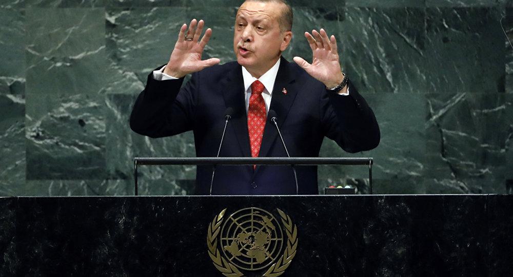 ألرئيس التركي رجب طيب أردوغان أثناء الخطاب أمام جمعية الأمم المتحدة، نيويورك 25 سبتمبر/ أيلول 2018
