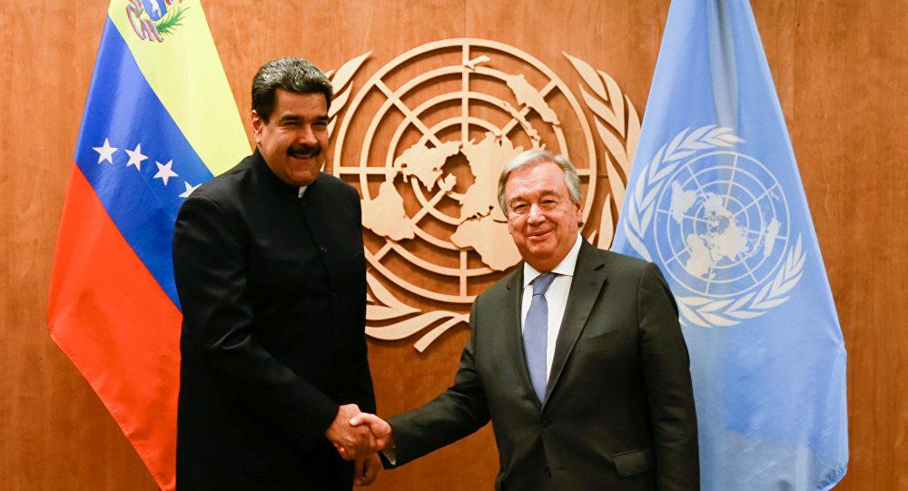 الرئيس الفنزويلي نيكولاس مادورو والأمين العام للأمم المتحدة أنطونيو غوتيريش