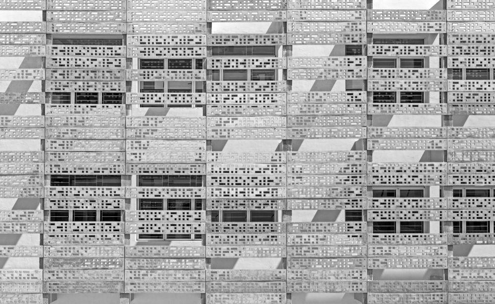 صورة لجدران خرسانية لحديقة تكنوبارك في شيناي، من قبل المصور بي. آر. إس. سريناغ من الهند، الذي دخل ضمن قائمة المرشحين النهائيين لمسابقة جوائز فن التصوير المعماري 2018 في فئة التصميم الخارجي