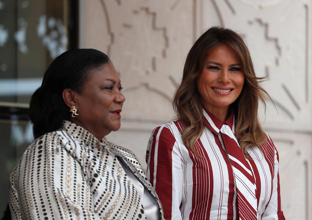 ميلانيا ترامب مع نظيرتها الغانية ريبيكا أكوفو - أدو، 1 أكتوبر/تشرين الأول 2018