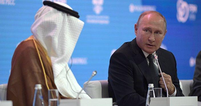 الرئيس الروسي فلاديمير بوتين في منتدى أسبوع الطاقة الروسي، 3 أكتوبر/ تشرين الأول 2018