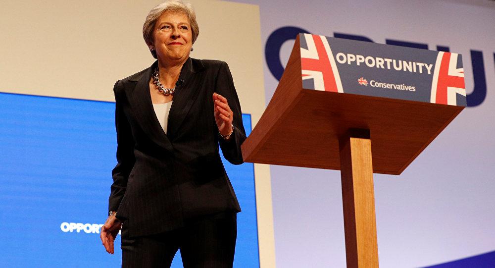 رئيسة الوزراء البريطانية، تيريزا ماي 3 أكتوبر/ تشرين الأول 2018