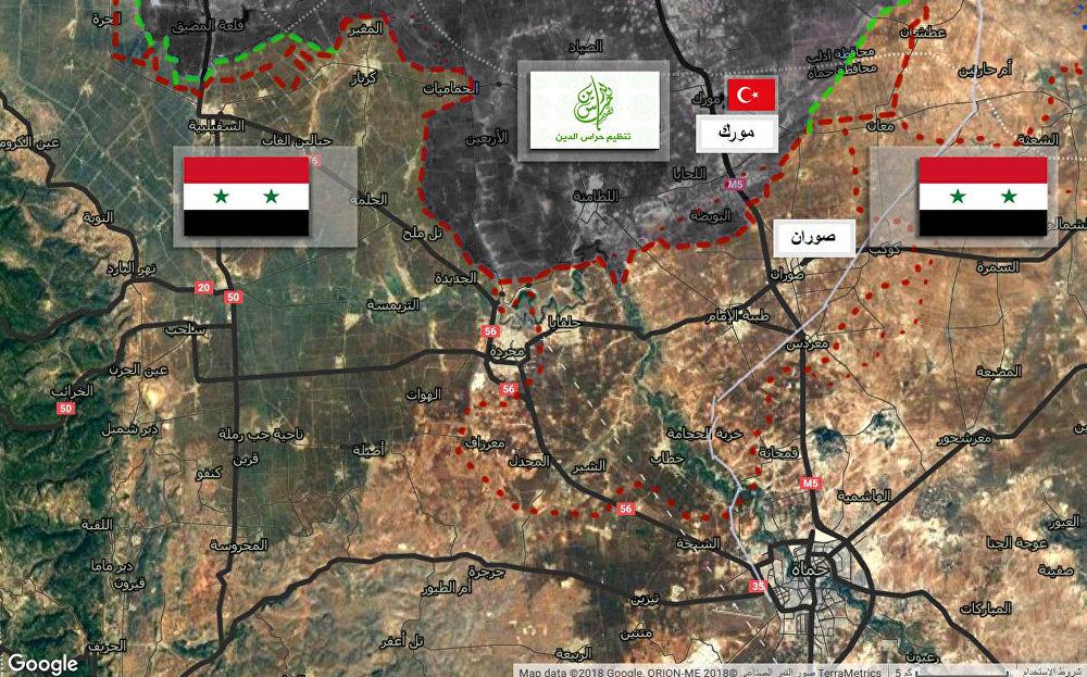 خريطة توضيحية لاستهداف مسلحي حراس الدين لمواقع الجيش السوري في محيط مدينة صوران قرب الحدود الإدارية المشتركة لمحافظتي حماة وإدلب