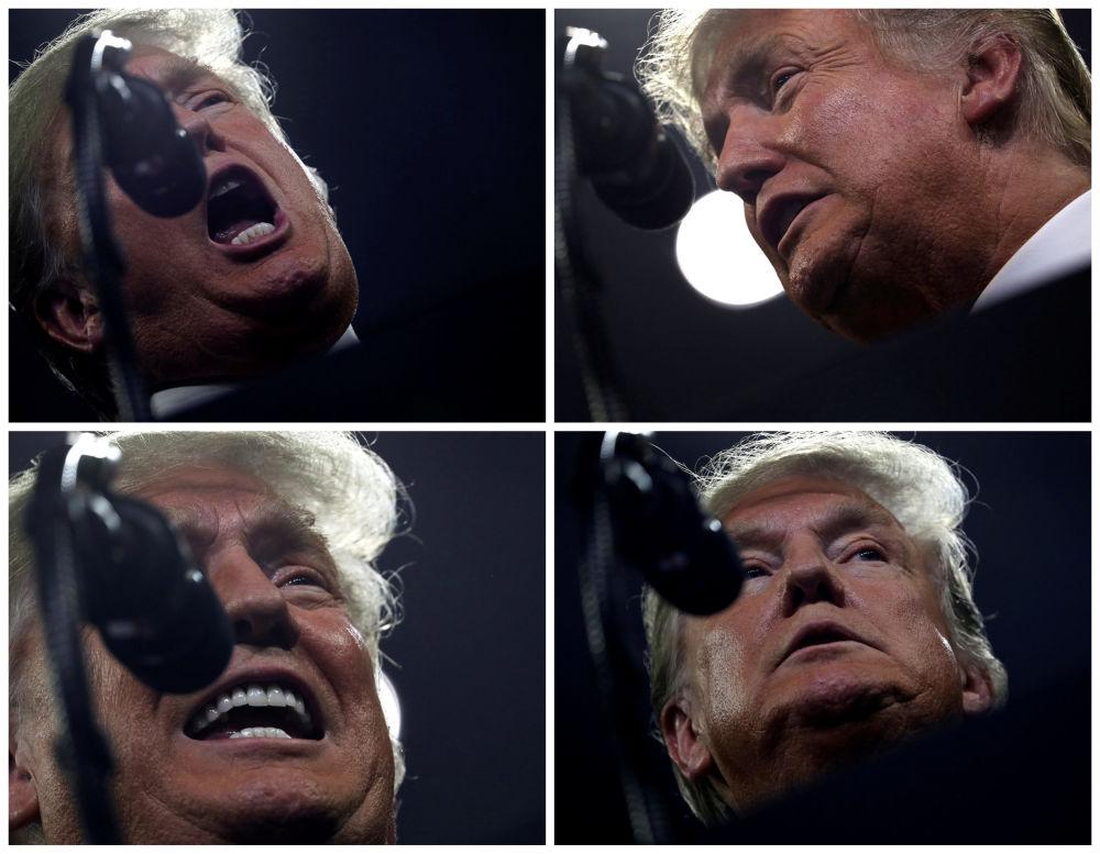 الرئيس الأمريكي دونالد ترامب خلال كلمته أمام مسيرة لنجعل أمريكا عظيمة مرة أخرى (Make America Great Again)، في جونسون سيتي، تينيسي، الولايات المتحدة، 1 أكتوبر/ تشرين الأول 2018