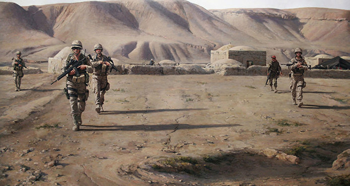 لوحة بعنوان La Patrulla, 2013 (الدورية العسكرية، عام 2013) من الرسام الحروب الإسباني أوغوستو-دالماو فيرير نييتو