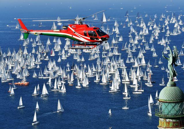 سباق برشلونة لسباق المراكب الشراعية الـ 50 ، بمشاركة 2700 مركب في خليج تريستي، إسبانيا 14 أكتوبر/ تشرين الأول 2018