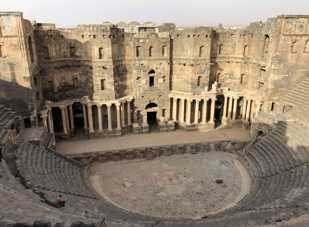 المسرح الروماني بمدينة البصرى في محافظة درعا السورية