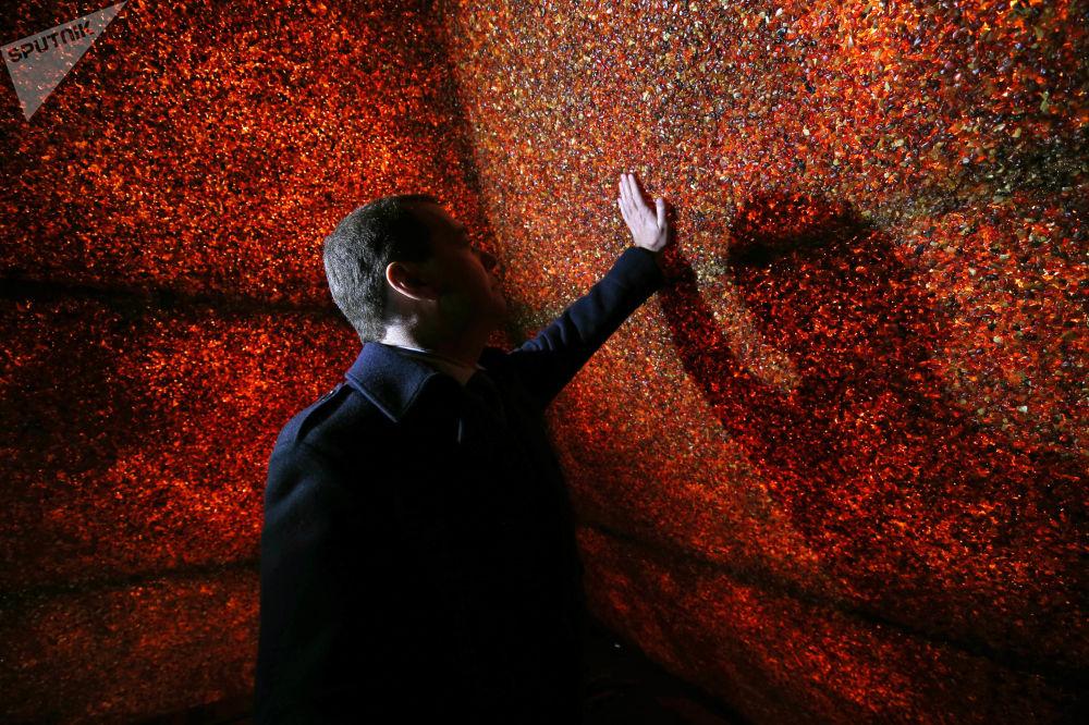 رئيس الوزراء الروسي، دميتري مدفيديف، خلال زيارته لهرم من العنبر في منطقة كالينينغراد الروسية