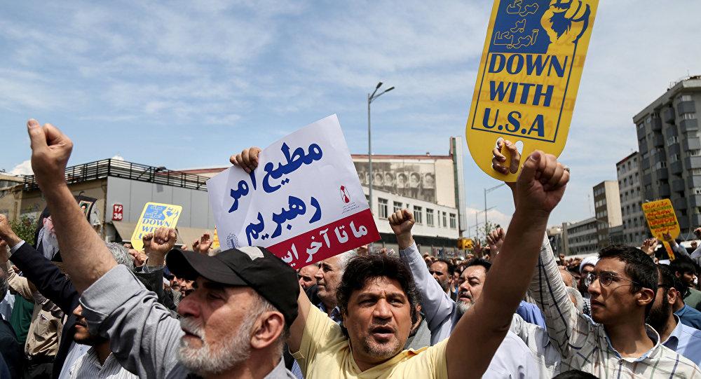 مسيرات إيرانية مناهضة لسياسات ترامب ضد البلاد