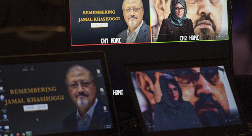 خديجة جنكيز، خطيبة الصحفي السعودي جمال خاشقجي، خلال حفل لإحياء ذكرى الصحفي خاشقجي في واشنطن، 2 نوفمبر /تشرين الثاني 2018