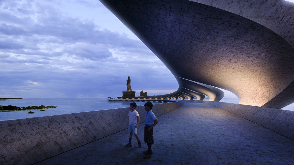 مشروع معماري لنصب تذكاري Thiruvalluvar في الهند، الذي فاز في فئة مشروع المستقبل للبنية التحتية