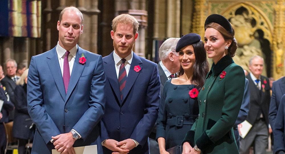 الأمير ويليام و ودوقة كامبردج كيت ميدلتون و الأمير هاري ودوقة ساسيكس ميغان ماركل