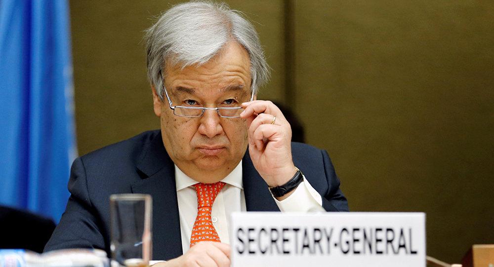 الأمين العام للأمم المتحدة أنطونيو غوتيريش، أثناء المؤتمر الصحفي الختامي حول نتائج المفاوضات اليمنية، والأزمة في اليمن، في جنيف