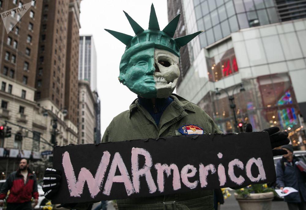 مظاهرات ضد توجيه الضربات الجوية ضد سوريا، مدينة نيويورك، الولايات المتحدة