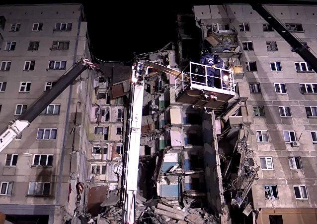 المبنى السكني المنهار في منطقة تشيليابينسك