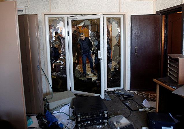 اقتحام مكتب تلفزيون فلسطين في غزة