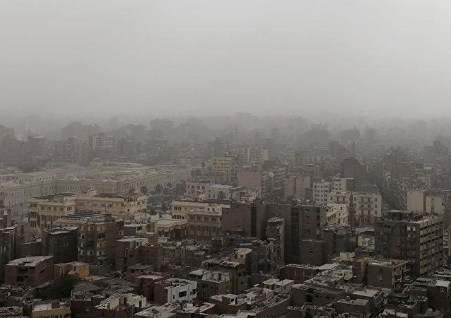 مظهر عام للمباني خلال العاصفة الترابية في القاهرة، 13 يناير/كانون الثاني 2019