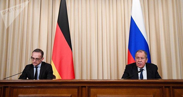 المؤتمر الصحفي المشترك لوزير الخارجية الروسي سيرغي لافروف ونظيره الألماني هايكو ماس، 18 يناير/ كانون الثاني 2019