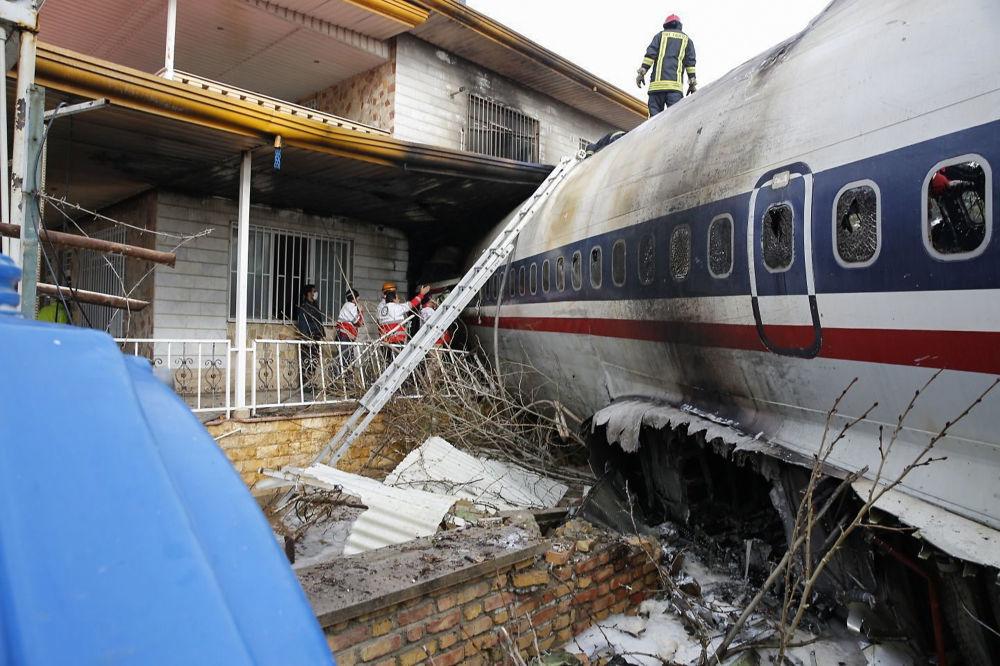 تحطم الطائرة الإيرانية بوينغ 707 في محافظة ألبرز، في منطقة سكنية بضواحي طهران، إيران 14 يناير/ كانون الثاني 2019
