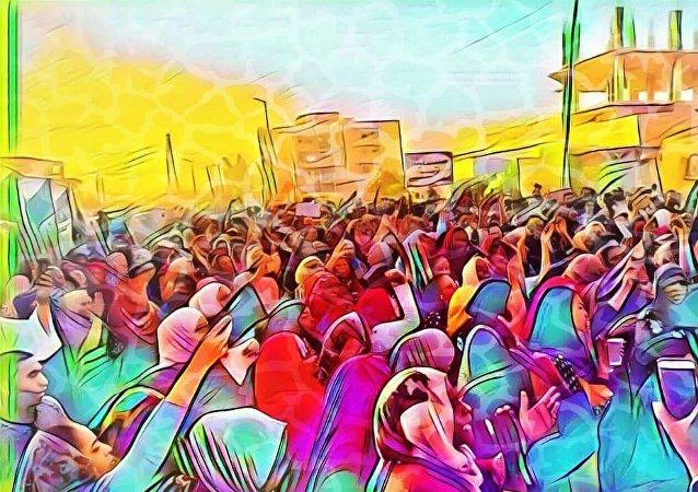احتجاجات السودان للفنانة التشكيلية آمال محمود