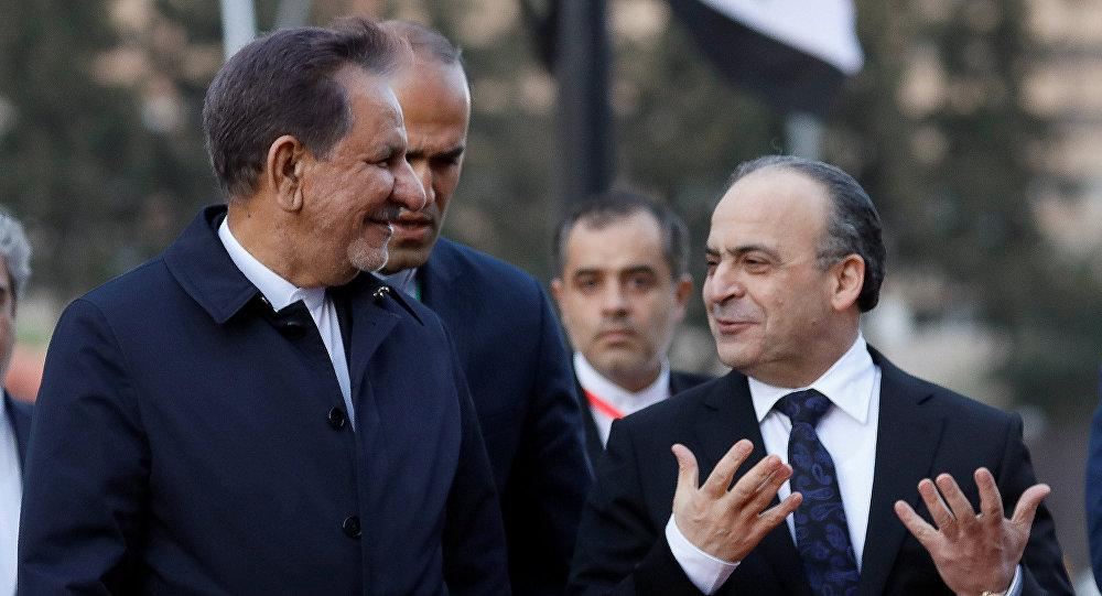 نائب الرئيس الإيراني إسحاق جهانغيري مع رئيس الوزراء السوري عماد خميس