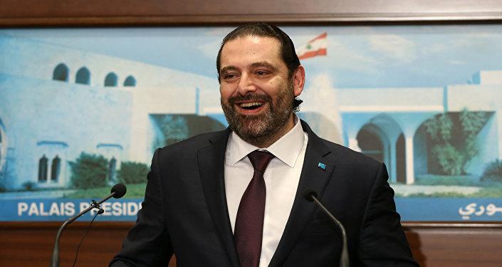 سعد الحريري أثناء إعلانه تشكيل الحكومة اللبنانية الجديدة، 31 يناير/كانون الثاني 2019