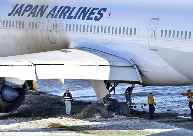 الطائرة المنزلقة عن المدرج في مطار ناريتا في طوكيو اليابان، 1 فبراير/شباط 2019