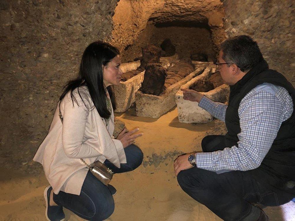 وزارة الآثار المصرية تكتشف 3 آبار دفن بمنطقة آثار تونا الجبل في محافظة المنيا، 2 فبراير/شباط 2019