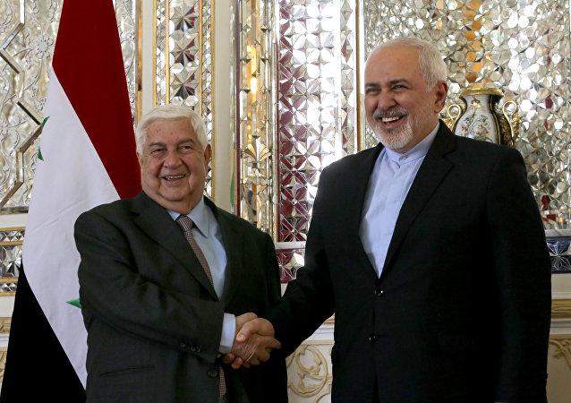 وزير الخارجية الإيراني محمد جواد ظريف خلال لقاءه في طهران مع وزير الخارجية السوري وليد المعلم