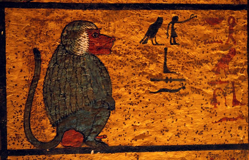 رسومات مصرية قديمة على جدار المقبرة التي تم تجديدها حديثاً للفرعون الشاب الملك توت عنخ أمون في وادي الملوك بالأقصر
