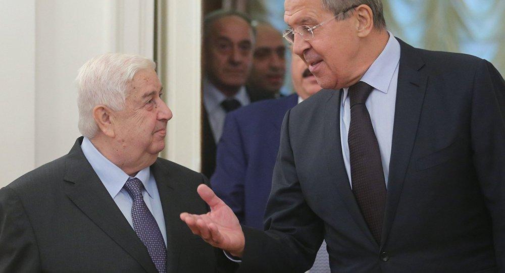 وزير الخارجية السوري وليد المعلم ونظيره الروسي سيرغي لافروف.