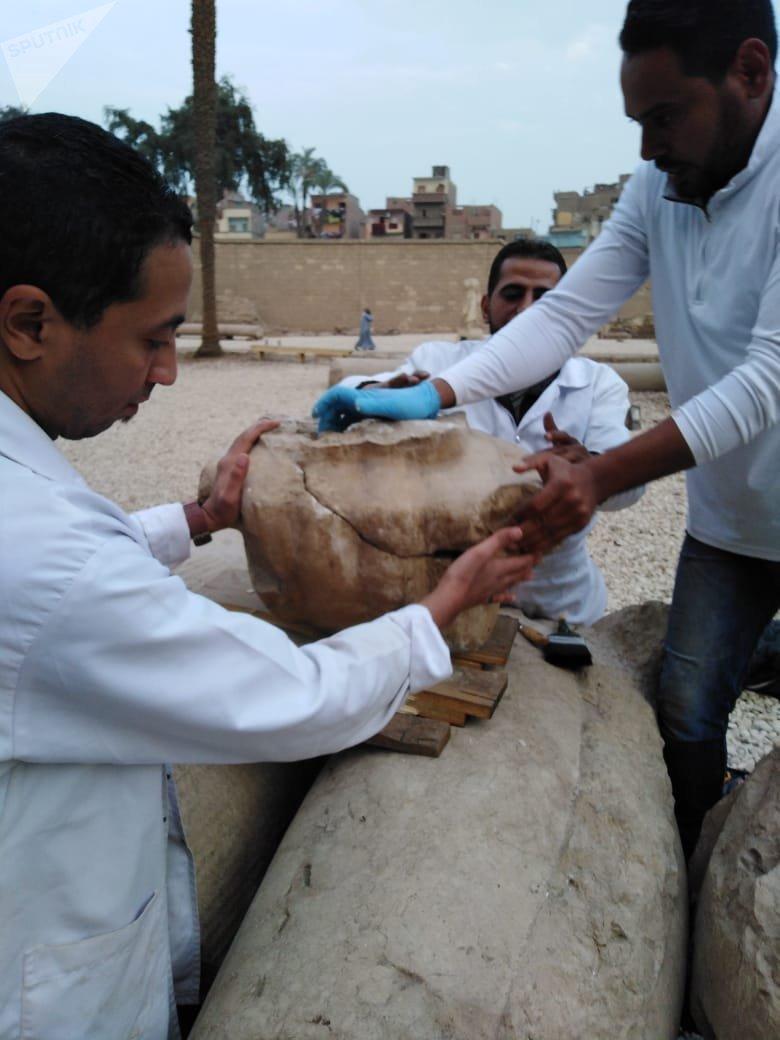إعادة ترميم تمثال رمسيس الثاني
