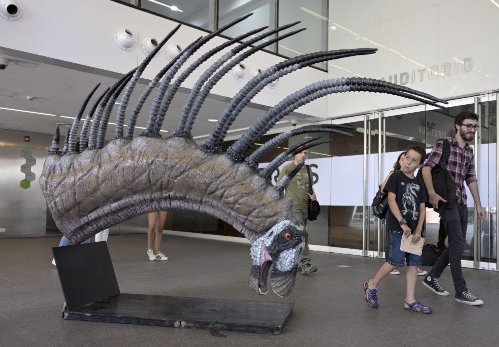 زائرون متحف يمرون بجوار نسخة طبق الأصل من Bajadasaurus pronuspinax، وهو ديناصور جديد طويل السن وجد في باتاغونيا، خلال عرضه في بوينس آيرس، في 4 فبراير/ شباط 2019