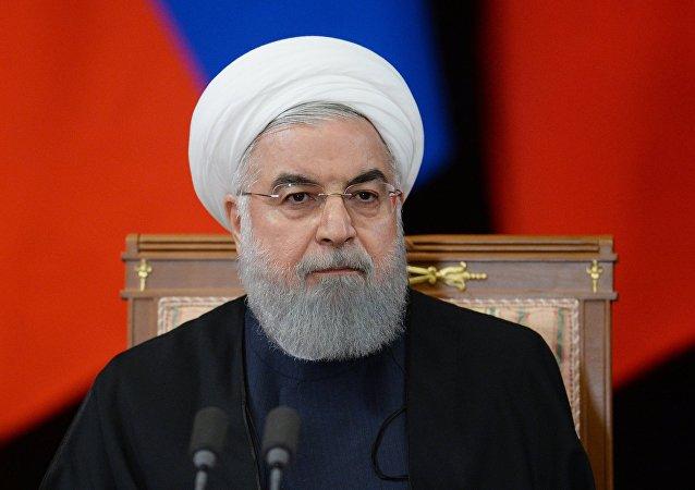 الرئيس الإيراني حسن روحاني في لقاء سوتشي، روسيا 14 فبراير/ شباط 2019