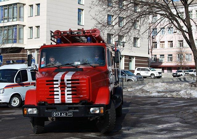 الإطفاء في وسط مدينة دونيتسك
