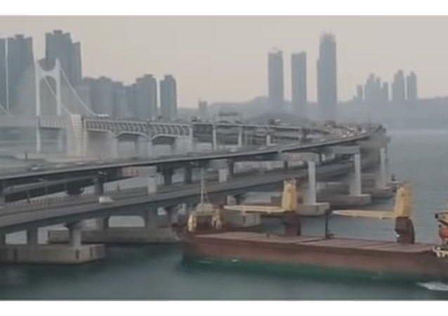 حادث سفينة شحن عملاقة في كوريا الجنوبية