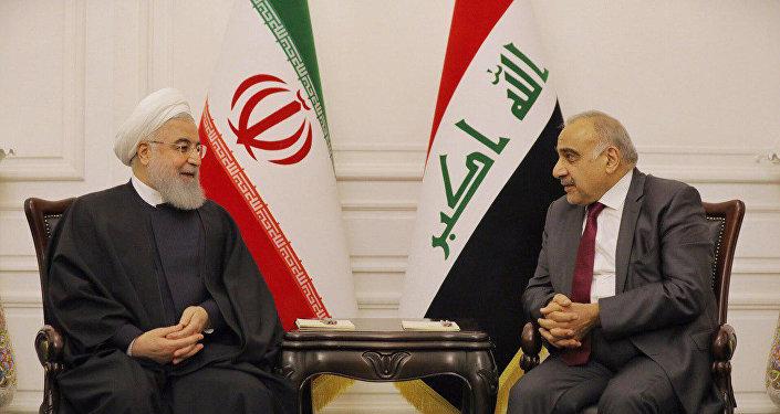 رئيس الوزراء العراقي عادل عبد المهدي مع الرئيس الإيراني حسن روحاني في بغداد في 11 مارس / أذار 2019