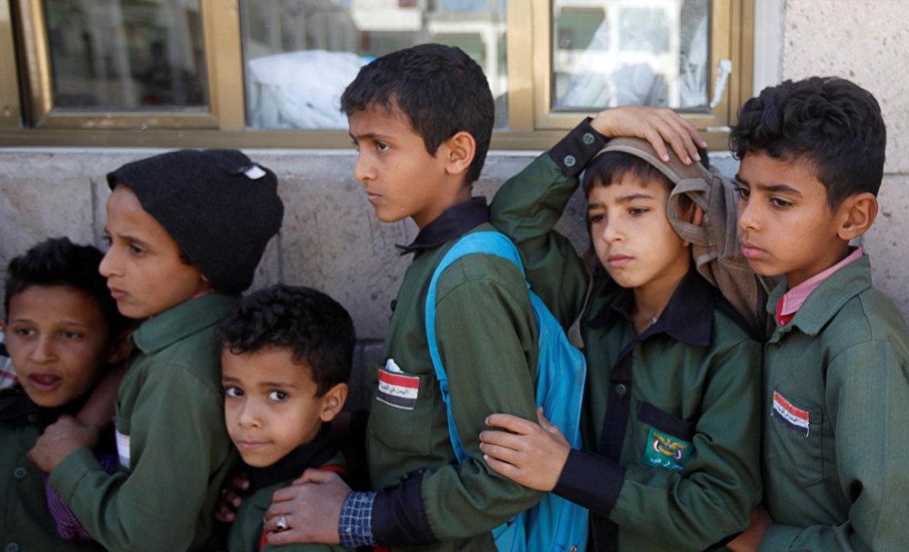 تلاميذ يمنيين في صنعاء في 19 فبراير / شباط 2019