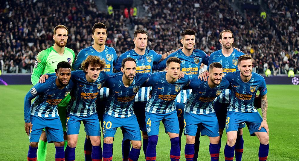 لاعبو أتليتكو مدريد قبل مباراتهم مع يوفنتوس