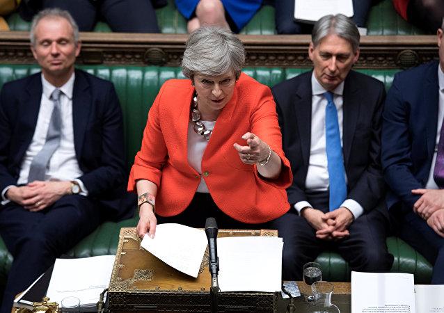 تريزا ماي تتحدث في البرلمان البريطاني في جلسة التصويت للمرة الثانية على خطتها للخروج من الاتحاد الأوروبي