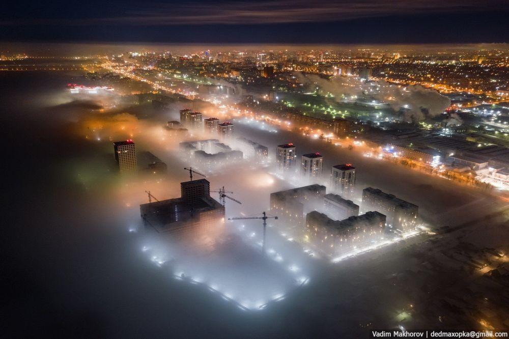 منظر ضبابي لمدينة نوفوسيبيرسك