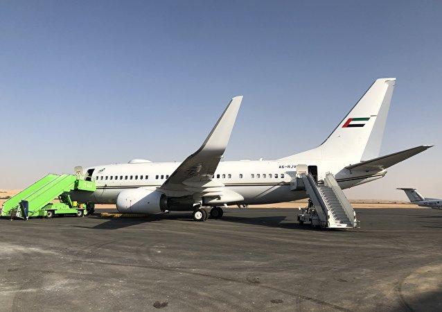 طائرة إماراتية في معرض السعودية الدولي الأول للطيران